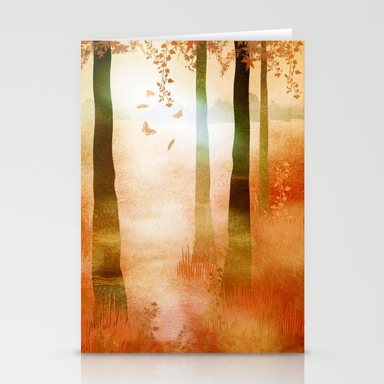 sunrise in autumn Stationery Cards