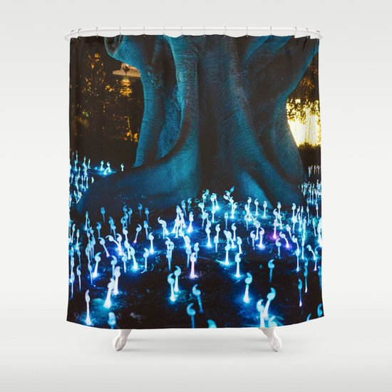 Fantasy forest with magic mushrooms shower curtain by for Fantasy shower curtains