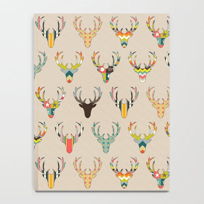 retro deer head on linen Notebook