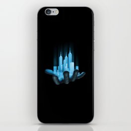 Virtualville / 3D render of miniature holographic city in human hand iPhone Skin