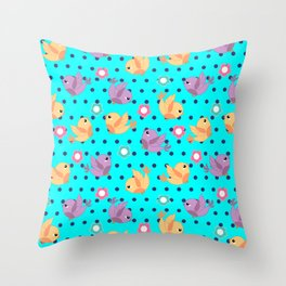 Freely Birds Flying - Fly Away Version 2 - Arctic Blue Color Throw Pillow