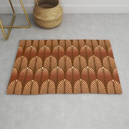 Art Deco Feather Pattern, Copper and Brown Rug
