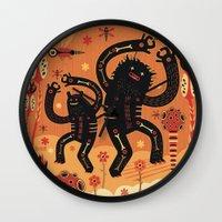bruno mars Wall Clocks featuring Les danses de Mars by Exit Man