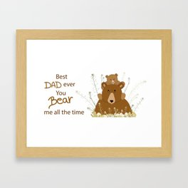 Father's day daddy bear and sun cub illustration Framed Art Print
