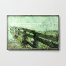 Wood Rail At Beach Metal Print