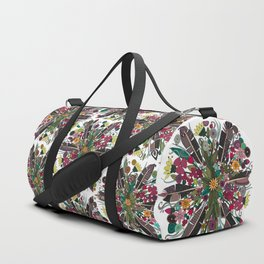 bohemian posy white Duffle Bag