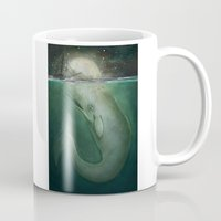 dick Mugs featuring Moby Dick by Marilyn Foehrenbach Illustration