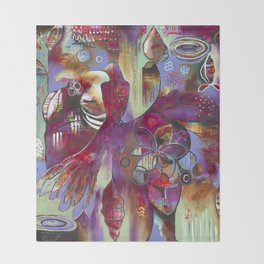 """Manifest"" Original Painting by Flora Bowley Throw Blanket"