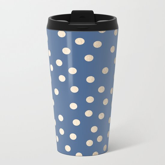 Simply Dots White Gold Sands on Aegean Blue Metal Travel Mug