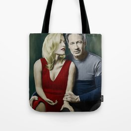 Gillian Anderson and David Duchovny painting Tote Bag