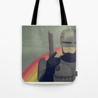 robocop Tote Bags featuring RoboCop Love by Virtual Window