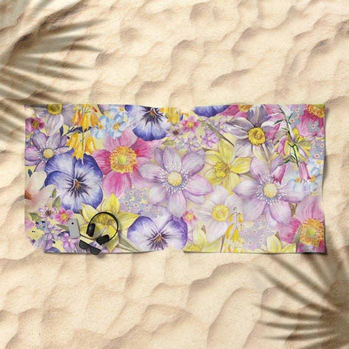 Painterly Vintage Spring Flowers Pattern - Springflower floral Beach Towel