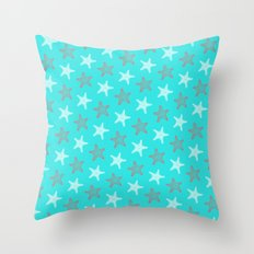 Starfish and Stripes on Sky Throw Pillow