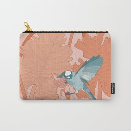 Turquoise Birds With Orange Leaves Carry-All Pouch