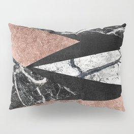 Elegant Modern Marble, Rose Gold, & Black Foil Triangles Pillow Sham