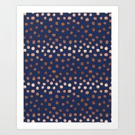 Rose Gold navy polka dot painted metallic pattern basic minimal pattern print Art Print