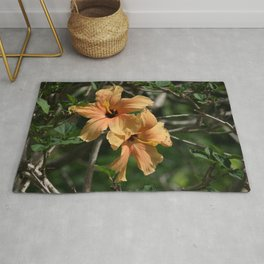 Orange Hibiscus Rug