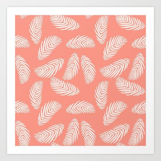 Palm trees pastel pink tropical minimal ocean seaside socal beach life pattern Art Print