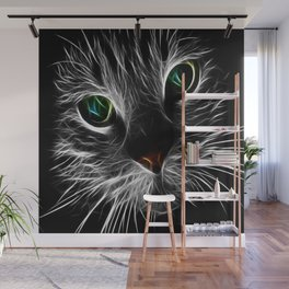 cat feline fractal flame abstract Wall Mural