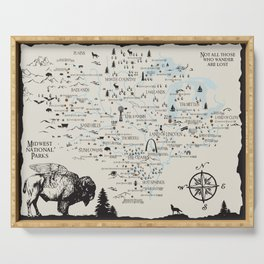 Whimsical map of the national park sites in the Midwest Serving Tray