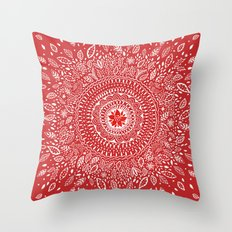 Poinsettia Mandala Throw Pillow