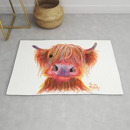 Scottish Highland Cow ' CHILLI CHOPS ' by Shirley MacArthur Rug