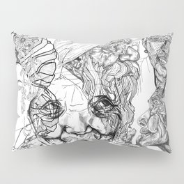 Geometric Portait Black and White Collage Pillow Sham