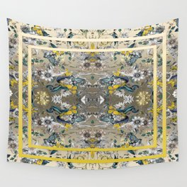 Passion Flower Baroque in Gold Yellow Grey Wall Tapestry
