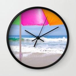 Sun umbrella n the sandy beach Wall Clock