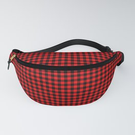 Small Valentine Red Heart Rich Red and Black Buffalo Check Plaid Fanny Pack