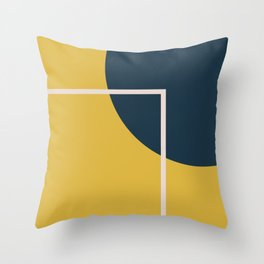 Fusion 3 Minimalist Geometric Abstract in Light Mustard Yellow, Navy Blue, and Blush Pink Throw Pillow