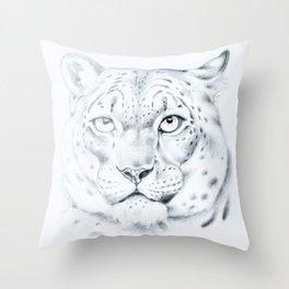 Snow Leopard Fine art Drawing Throw Pillow