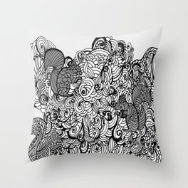 Squirrels Zentangle Drawing White Throw Pillow