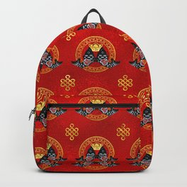Good Fortune Symbol with Koi Fish and coin Backpack