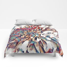 Japanese Inspired Lily Design Sketch Comforters