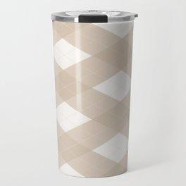 Pantone Hazelnut, Tan Argyle Plaid, Diamond Pattern Travel Mug