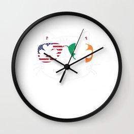 Cat St. Patrick's Day Irish USA Flag Shamrock Gift Wall Clock