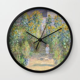 The Artists Garden at Vetheuil (1881) by Claude Monet Wall Clock