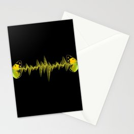 Pulse - Yellow butterflies sound waves Stationery Cards