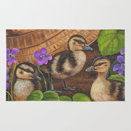 Ducklings and Old Fishing Hat Rug