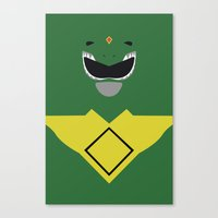 power ranger Canvas Prints featuring Power Rangers - Green Ranger Minimalist by TracingHorses