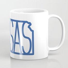 State of Kansas Typography - Blue Coffee Mug