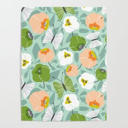 Butterfly Blossom Floral - Sage Green Poster
