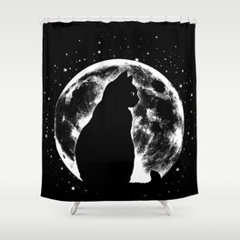 Cat Moon Silhouette Shower Curtain