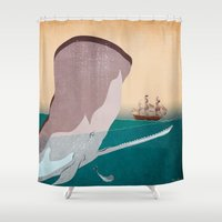 the whale Shower Curtains featuring  WHALE by mark ashkenazi