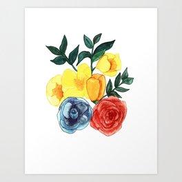 Watercolor Flower Bouquet Art Print