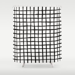 Strokes Grid - Black on Off White Shower Curtain