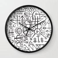 writing Wall Clocks featuring ALIEN WRITING by Matthew Taylor Wilson