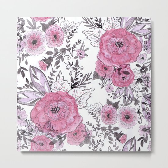 Watercolor roses with black and gray leaves . Metal Print