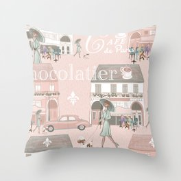 La France Cafe for Coffee! Throw Pillow